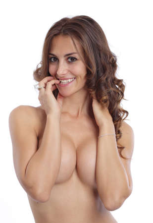 Cute look from a topless woman Stock Photo