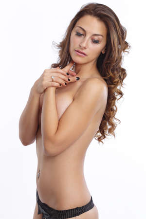 sexy topless girl: Hot half naked woman Stock Photo
