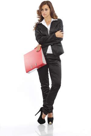 Business-Frau, mit einem Datei-Ordner