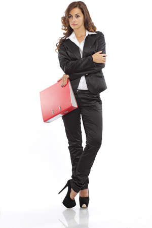 white body suit: Business woman standing with a file folder Stock Photo