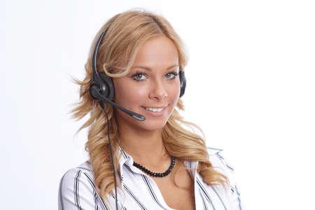 Attraktive Gesch�ftsfrau mit Headset