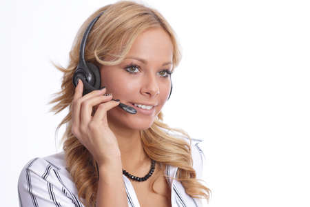 support agent: Attractive businesswoman with headset Stock Photo