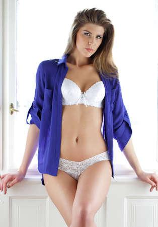 Brunette Modell posiert in Dessous Lizenzfreie Bilder