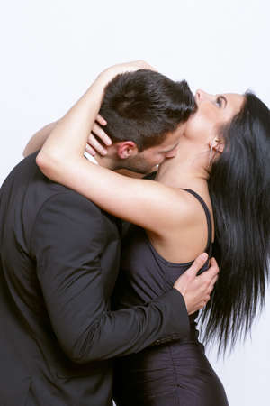 Passionate kiss between a couple photo