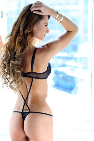 Black lingerie on a model from behind