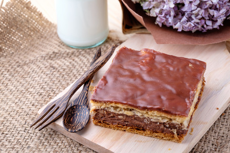 Millefeuille Chocolat on wood background