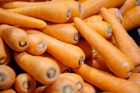 Pile of carrots in maket