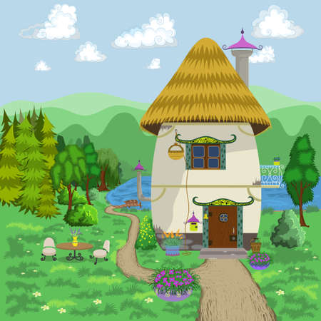 tranquil scene on urban scene: Cartoon House. Vector Illustration. Illustration