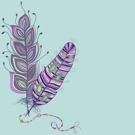 Feathers whit beads. Vector