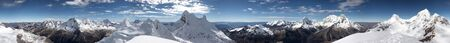 Circular 360 degrees panorama from Nevada Pisco, Cordillera Blanca, Peru