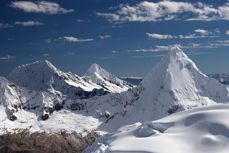 Artesonraju, Alpamayo and  Quitaraju mountains, Cordillera Blanca, Peru Stock Photo