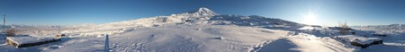 Circular 360-degree panorama of Mount Ararat in winter
