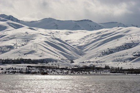Lake Van in winter, eastern Turkey Stock Photo