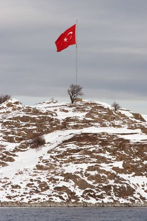Turkish flag at Akdamar Island Stock Photo