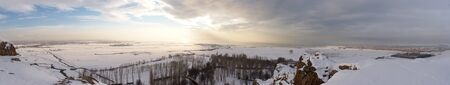 Panorama of Lake Van shore, Turkey