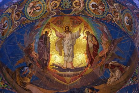 Jesus Christ mosaic in orthodox temple, Petersburg