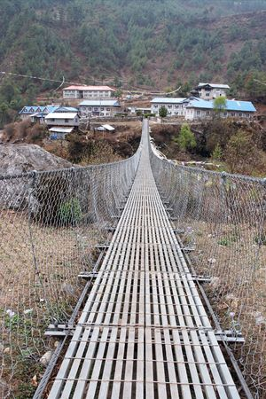 Bridge to nepalese village, Everest trail, Nepal
