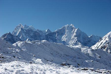Mountain village after snowfall, Himalayas, Nepal Stock Photo