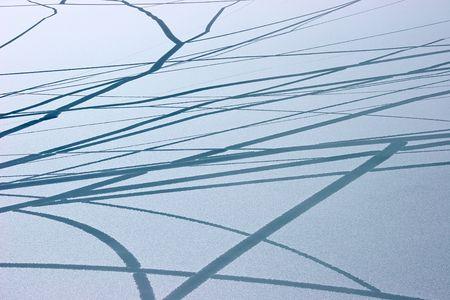 Ice cracks pattern at lake surface, Himalaya photo