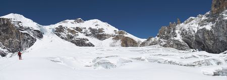 Panorama of glacier with crevices, Himalaya