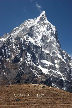 Mountain silence message, Himalayas, Nepal Stock Photo