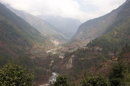 tibetan house: Dudh Kosi river valley, Himalayas, Nepal Stock Photo