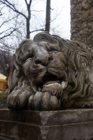 Sad lion sculpture photo