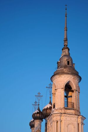 Russian church at sunset with blue sky background, Vologda Stock Photo