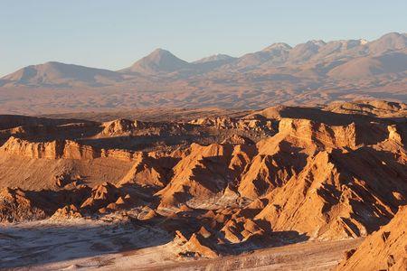 Atacama Desert and volcano range in evening, Chile Stock Photo