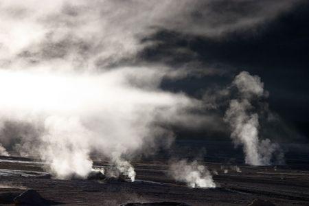 Fog rising from geyser field, Chile