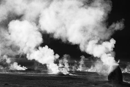 Black and white photo of geyser field, Chile