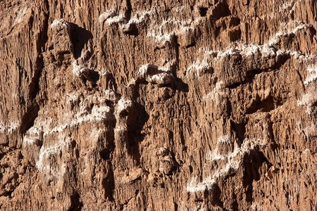 White sediment at rocks in Atacama desert, Chile