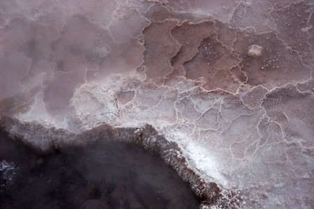 vulcanology: Hot spring mineral surface