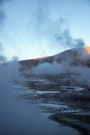 Hot spray from geyser eruption, Chile Stock Photo
