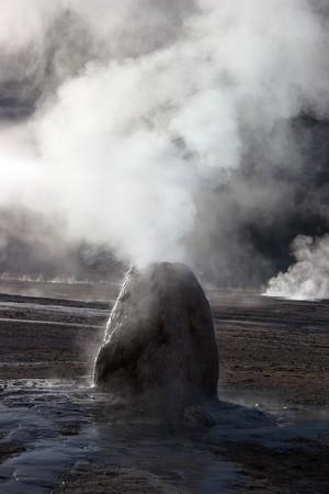 Mineral column formed by erupting geyser, Chile