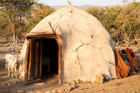 This primitive hut houses Himba people who are endemic to Namibia.