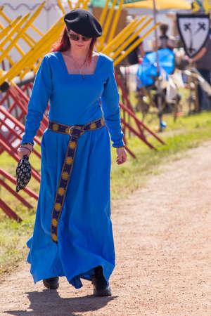 QUEEN CREEK, ARIZONA - FEBRUARY 27, 2015: The Estrella War event featured merchants, participants and visitors in Renaissance costume. Sajtókép