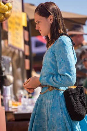 QUEEN CREEK, ARIZONA - FEBRUARY 27, 2015: The Estrella War event featured merchants, participants and visitors in Renaissance costume. Sajtókép