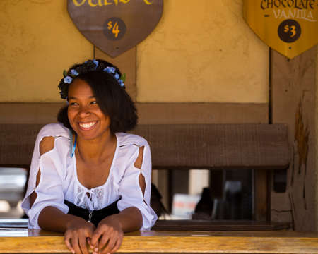 GOLD CANYON, ARIZONA - MARCH 25, 2018: One of many women dressed in period costume at the Renaissance festival in the Phoenix area. Each played a role whether merchant, musician, particpant or visitor. Editorial