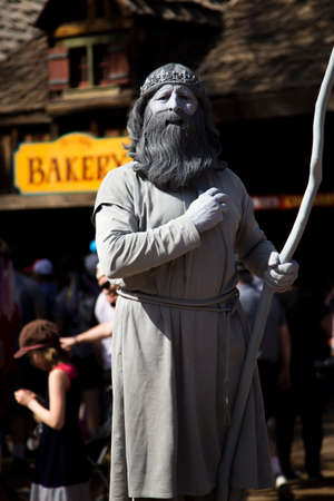 GOLD CANYON, ARIZONA - MARCH 25, 2018: Man impressively costumed as a statue at the Phoenix area Renaissance festival
