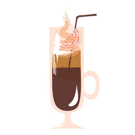Vector winter drink - Coffee Punch on white background. Warm cocktail in glass cup