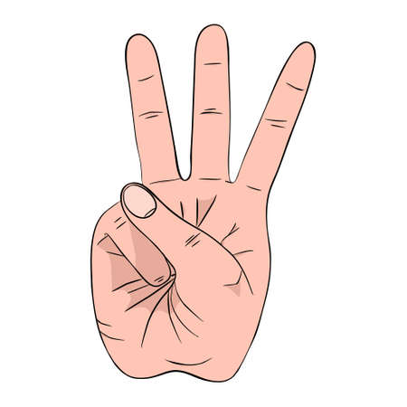 Hand gesture with high three sign