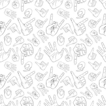 Hand gestures pattern on white background 向量圖像
