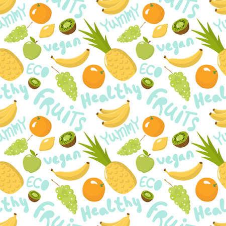 Healthy Food seamless pattern - fruits and lettering words - on white Background. Vegan, natural and eco vector illustrations of products with lettering words.