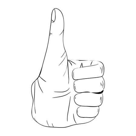 Hand gesture with transparent good sign