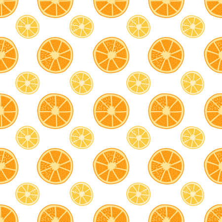Healthy Food seamless geometric pattern - fruits - on white Background. Vegan, natural and eco vector illustrations of orange and lemon.