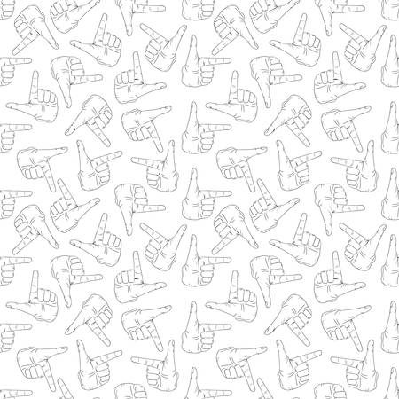 Seamless pattern with hands gesture on white background 向量圖像
