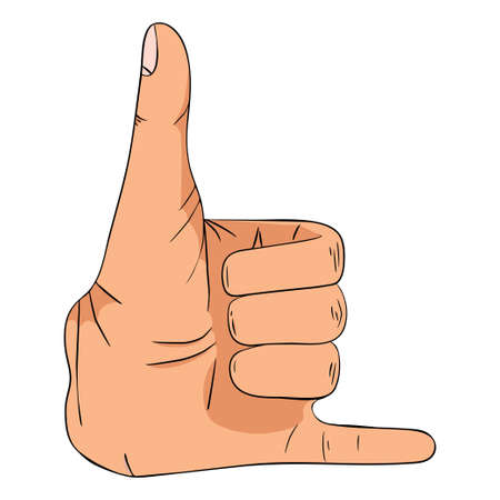 Hand sign showing phone sign- vector illustration. Hand collection. 向量圖像