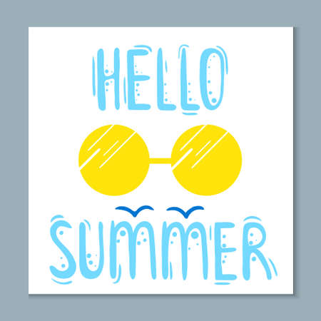 Great summer card with lettering in bright colors - vector illustration