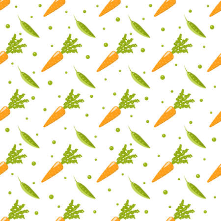 Healthy Food seamless pattern - vegetables - on white Background. Vegan, natural and eco vector illustrations of products - carrot and pea.
